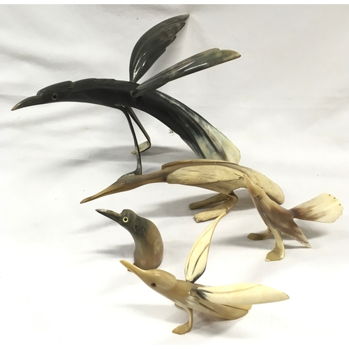 1299 - Collection of horn bird figures....