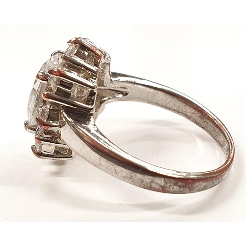1315 - A ladies silver cluster ring size O....