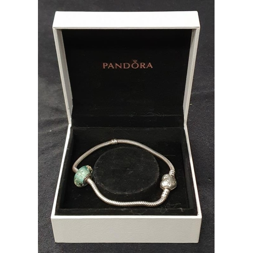 1326 - Genuine silver Pandora bracelet with charm boxed....