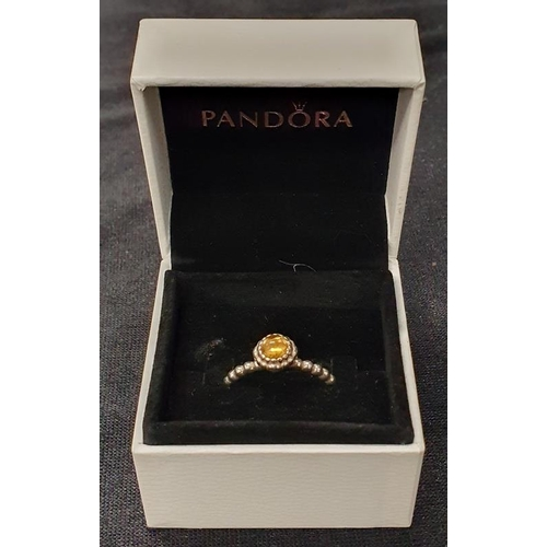 1328 - Genuine Pandora Q25 ALE boxed silver ring size P....