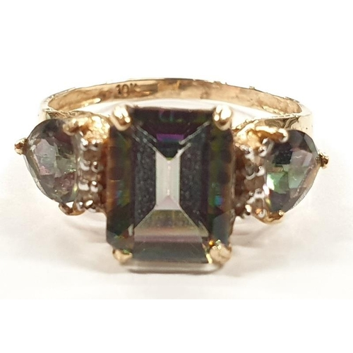 1330 - A 10ct gold ladies ring with diamonds size N+....
