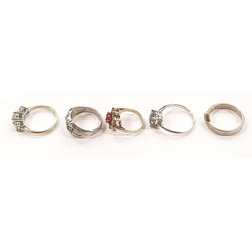 1336 - A collection of five silver rings....