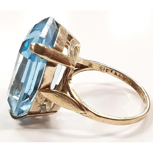 1338 - Gold on silver aqua colour stone ring size N....