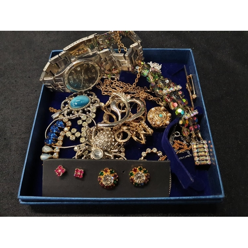 1349 - Two modern watches together with a collection of costume jewellery....
