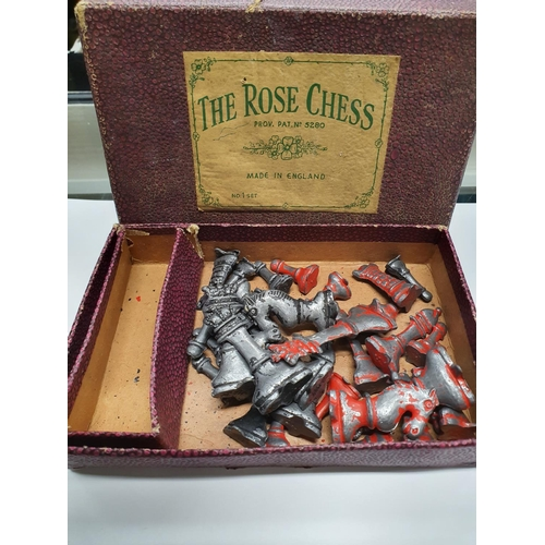 1364 - A vintage lead chess set in original box....