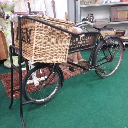 1386 - A vintage butcher's bike together with a Fortnum & Mason delivery basket....