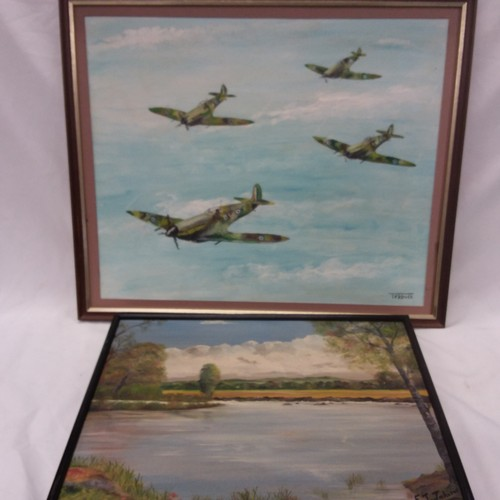 1394 - A framed oil on board picture of Spitfires together with another oil on board of a lake scene. Both ...