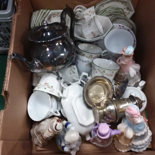 1395 - A box of assorted silver plate and chinaware to include figures....