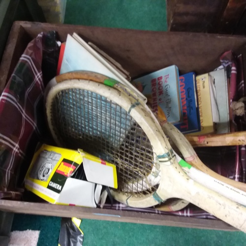 1424 - A mixed lot consisting of four vintage tennis/badminton rackets, Enid Blyton books and a vintage Ban...