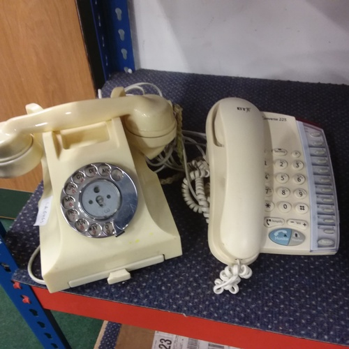 2028 - Two telephones, including one Bakelite....