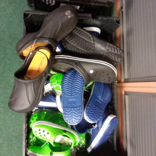 2053 - A crate of assorted garden shoes, mixed sizes and colours....