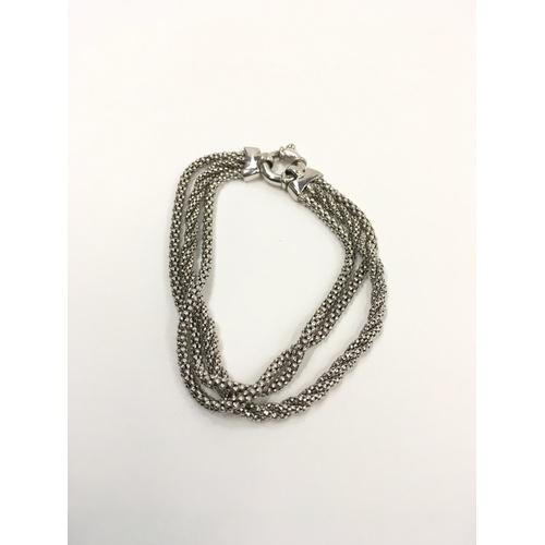 459 - 9ct three strand white gold rope bracelet....
