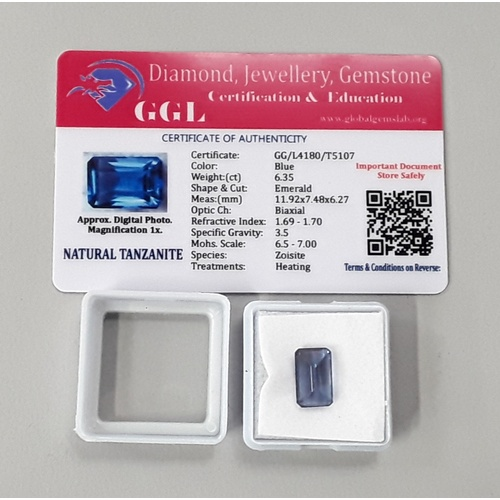 445 - Natural tanzanite 6.35ct with certificate....