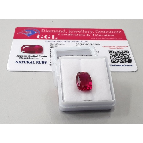 447 - Natural ruby 6.4ct with certificate....