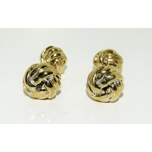 425 - Pair of gold plated knot cufflinks....