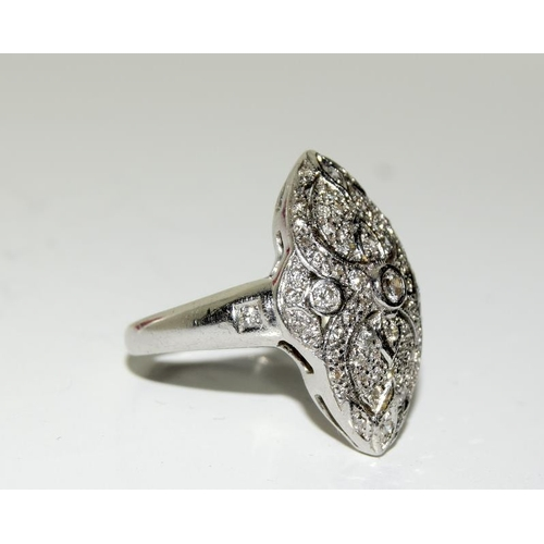 519 - 18ct white gold Art Deco Diamond ring. Size M...