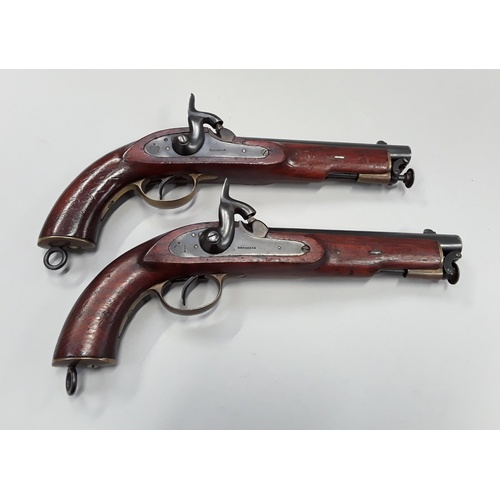 172 - Pair of flintlock percussion service pistols, stamped with crown and Birmingham - fully operational,...