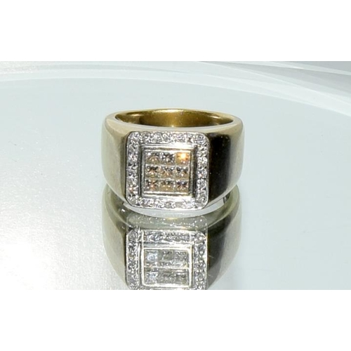 455 - 18ct white gold gent's diamond ring, approx 1ct. Size S....