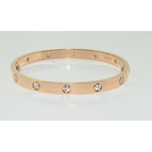 525 - Cartier 18ct rose gold, 10 diamond, love bracelet / bangle (size 19), BHC623, with box, screwdriver ...