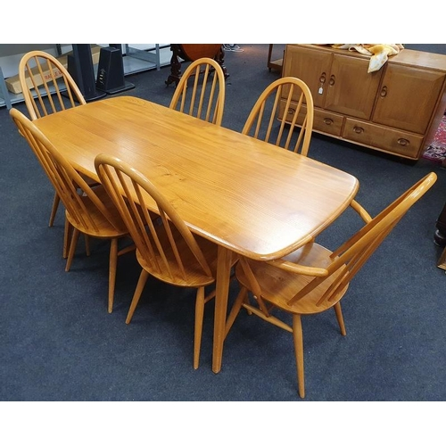 526 - Ercol blonde plank square leg 1960s table (150x75cm) with six Quaker stickback chairs....