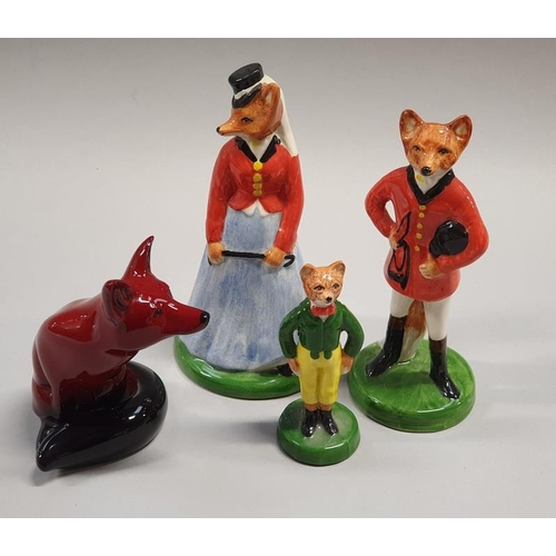 18 - Royal Doulton Flambe sitting fox together with a collection of grey's fox models....