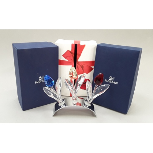 35 - Swarovski Crystal: Red, Yellow & Blue tulips with stand and boxes....