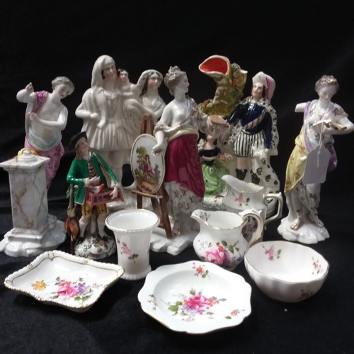 1023 - Two Staffordshire flat backs with other figurines and china....