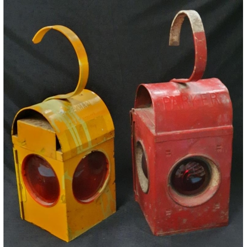 1008 - Two vintage railway lamps....