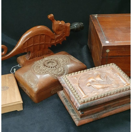 1013 - Two wooden boxes together with a mahogany writing slope, wooden cigarette box and seahorse lamp....