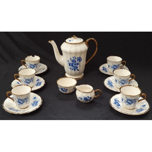 1014 - A Wade blue and white porcelain tea set for six....