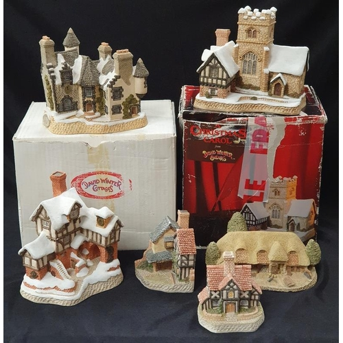 1025 - A collection of six David Winter cottages (two with boxes)....