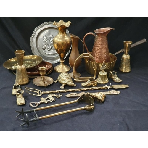 1037 - A collection of brass and other metalware....