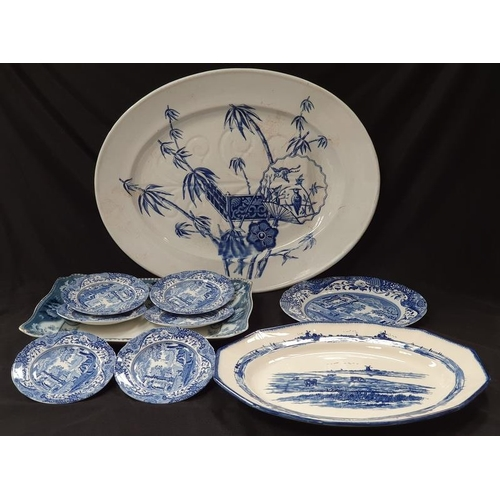 1039 - A collection of blue and white meat and other plates....