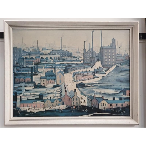 1049 - A framed oil on board picture of an industrial factory scene....