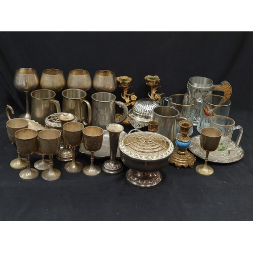 1098 - A box of assorted silver plate and other metalware....