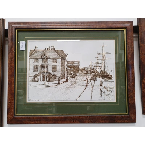 1102 - A framed and glazed local Poole print of The Customs House and Poole Quay by P.Hayton....