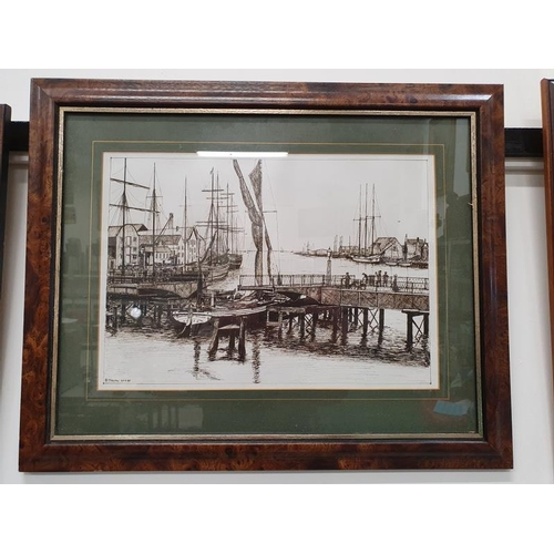 1103 - A framed and glazed local Poole print of Poole Quay by P.Hayton....