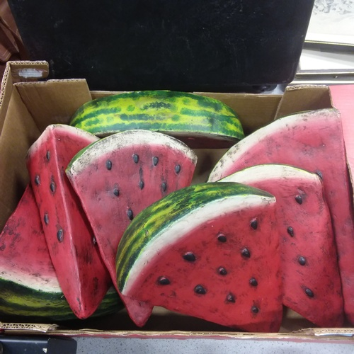 1535 - Seven hand painted terracotta pottery water melon slices....