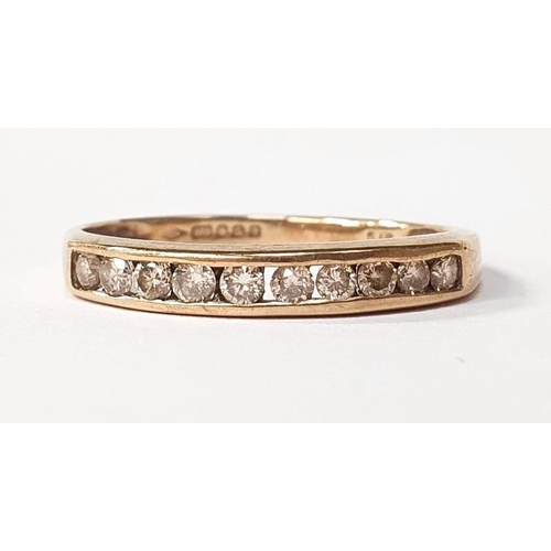49 - 9ct gold diamond 1/2 eternity ring size Q....