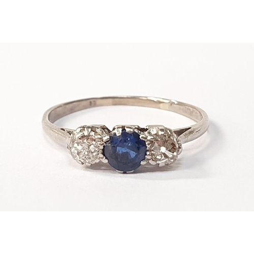 19 - 18ct white gold diamond and sapphire 3 stone ring size M....