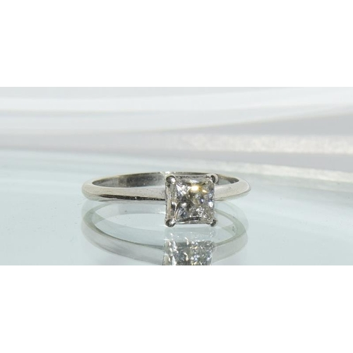 33 - A 9ct white gold ladies mossanite/diamond solitaire ring size 0.5ct approx. Size N....