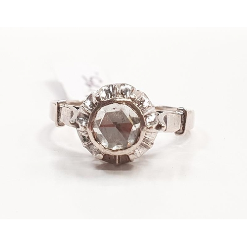 34 - Diamond approx 0.75 points set in gold ring. Size Q...