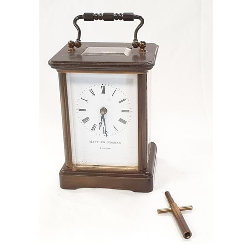 34 - Matthew Norman - London Brass Carriage Clock with key....