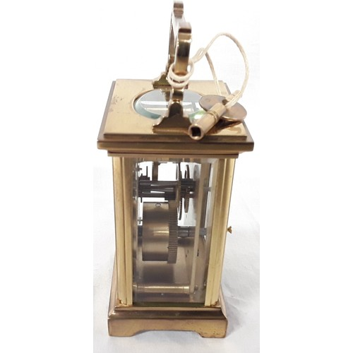 36 - Brass cased carriage clock marked Salisbury (Henley), with key....