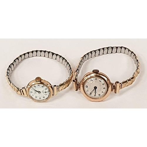 38 - A ladies rose gold watch in working order together with one other....
