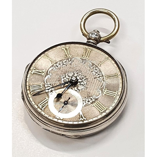 40 - Silver pocket watch with fusee movement and silver face....
