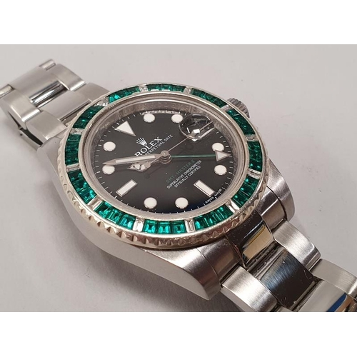 15 - Rolex GMT II with custom Emerald Bezel, Boxed....