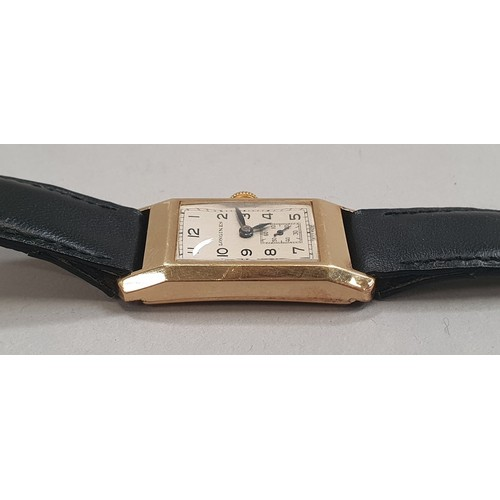 5A - Longines 18ct gold rectangular case wristwatch c.1936 on leather strap with box....