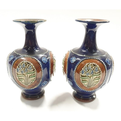 15 - A pair of Royal Doulton Lambeth stoneware posy vases 8384....