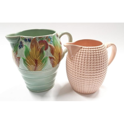 17 - Large Clarice Cliff jug with relief pattern leaves design marked 41A together with another Clarice C...